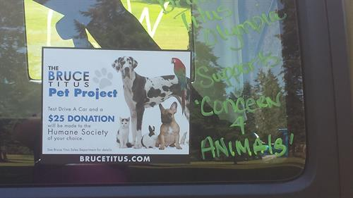 Bruce Titus Pet Project.  Take a test drive and mention the BT Pet Project and we will donate $25 to Concern for Animals
