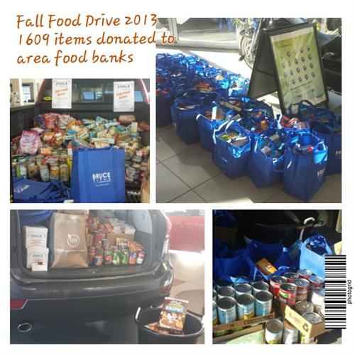 Our annual food drive (all BTAG locations) delivers thousands of pounds of food to local food banks