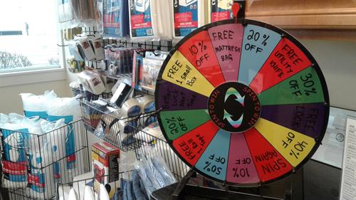 We have merchandise for moving ~ Spin for discounts!