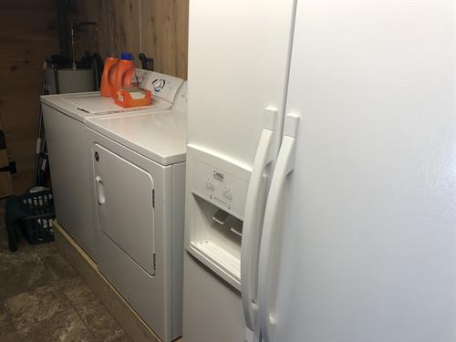 The Log Cabin has a washer and dryer as well as a refrigerator and freezer