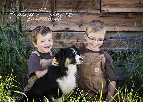 Children photography:  Boys and their dogs