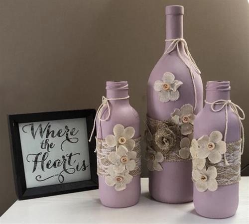 Custom upcycled bottle decor