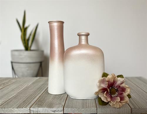 Custom upcycled bottle vase decor