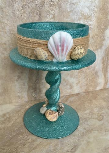 Custom handmade beach house candle holder