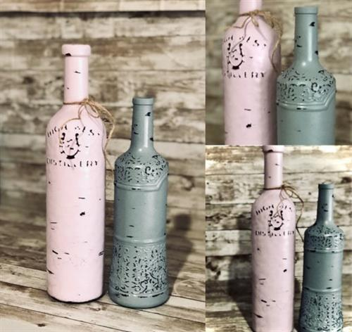 Upcycled  hand painted and Distressed bottle set