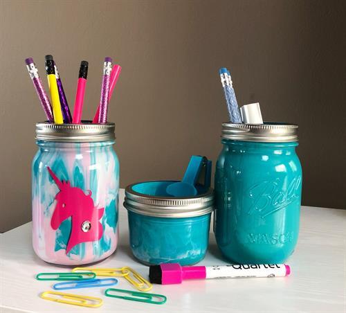 Custom Mason Jar Desk Set for Kids