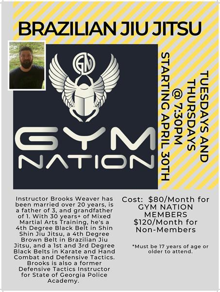 Gym Nation is now offering Jiu Jitsu Training on Tuesday and Thursday evenings.