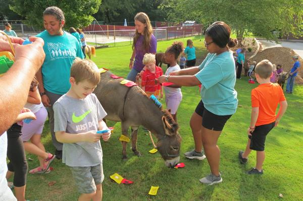 Learning about horse body parts at Learning Tree with Honkey Tonkey Donkey