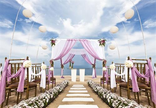 Beach wedding set-up