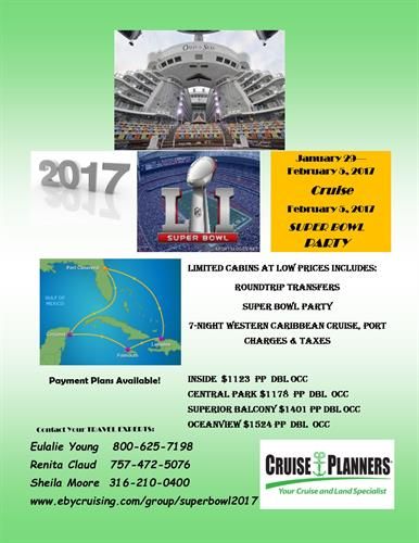 Super Bowl Cruise & Social 2017 flyer