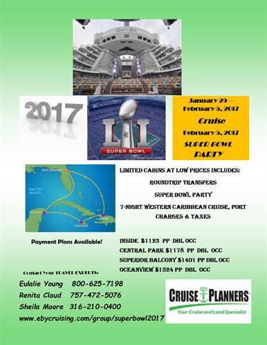 Super Bowl Cruise & Social 2017 flyer