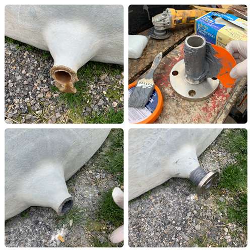 Broken acid storage tank nozzle repaired