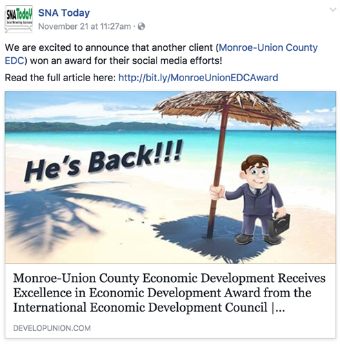 "Bronze Excellence in Economic Development Award for its 2016 project ""Unitas"" - Monroe Union EDC"