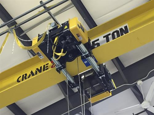 5-Ton overhead crane in our service shop.