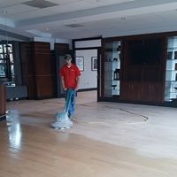 During Wood Floor Refinishing