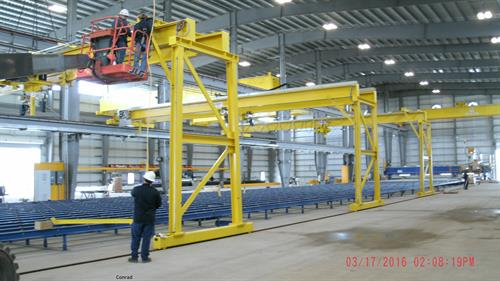 Numerous cranes for local barge building company