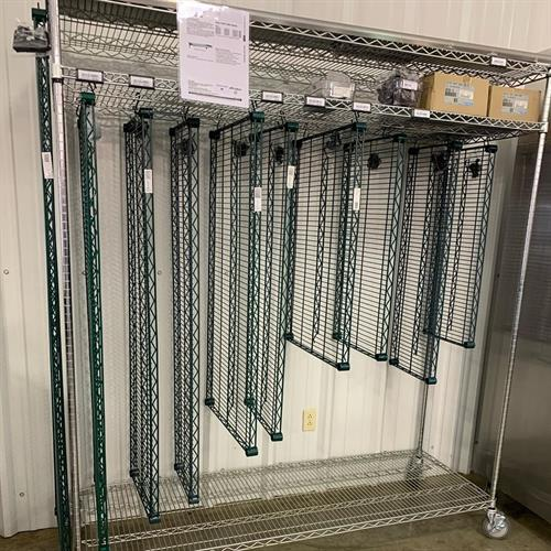 Many sizes of wire shelving