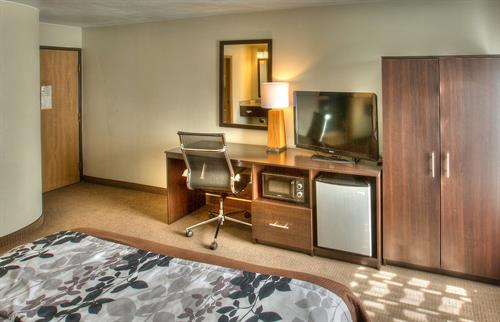 Our Spacious King Bedroom with Microwave and Refrigerator
