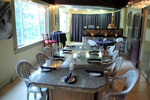 We have a private dining room available through reservation only.