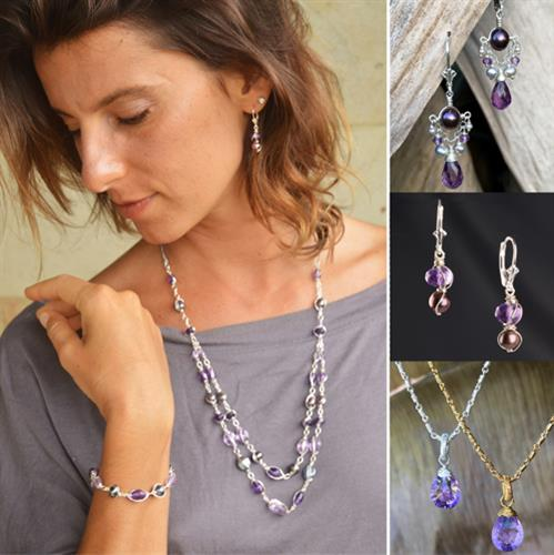 Noble Heart Collection Featuring Amethyst and Pearls