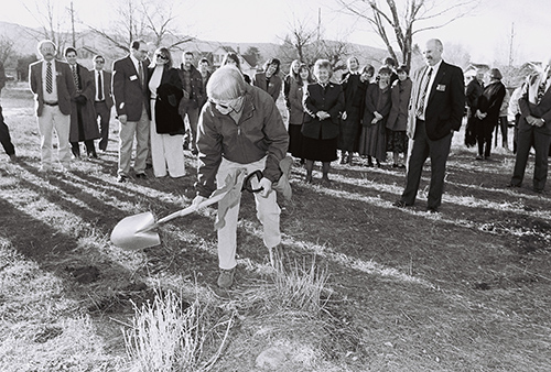After years of looking for a permanent home in Carbondale, CMC was generously offered nine city lots at the corner of 7th and Colorado Avenue by long-time local and college supporter Ginny Lappala (pictured here at groundbreaking). The CMC Lappala Center, named for Ginny and her late husband Paul, opened in the Fall of 1996.