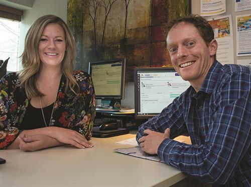 Craig Farnum, pictured right, is the Center Director and College Counselor at CMC's Lappala Center in Carbondale. He is pictured here with Jen Cantway, Aspen Campus College Counselor.