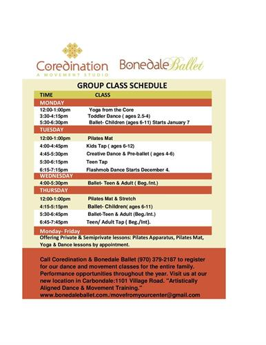 Coredination & Bonedale Ballet Winter Class Schedule!