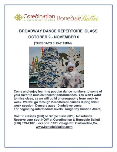 New Class: Broadway Repertoire Dance Class at Coredination & Bonedale Ballet.