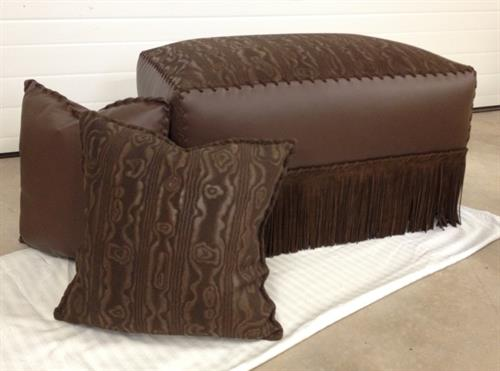 Moire suede and leather pillow & ottoman