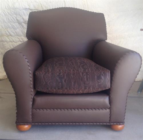 Hand whip stitched leather/suede chair