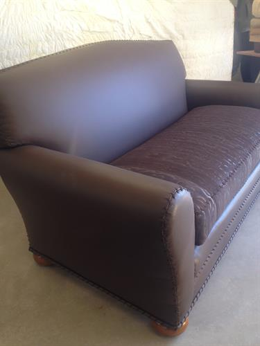 Leather/suede couch with whip stitching