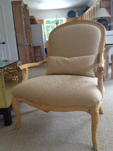 Embroidered linen on French chair