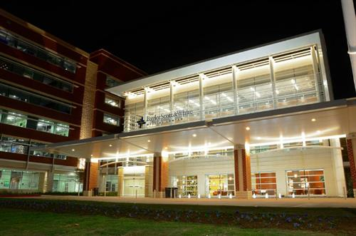Baylor Scott & White Medical Center - Waxahachie main entrance night shot