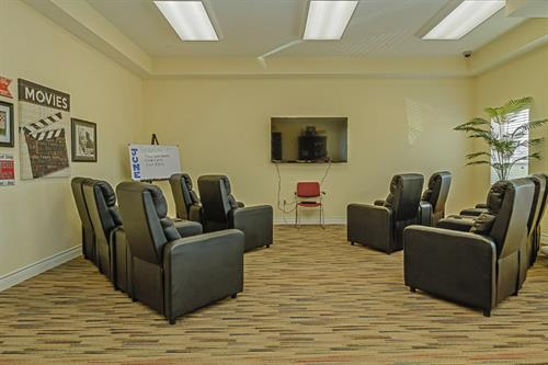 Media room in Ellis County senior living community