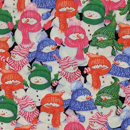 """Colorful Snowmen"" Tightly Woven 100% High Quality Cotton, Bright, Colorful, Fun."