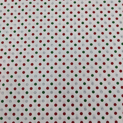 """Dots"" Tightly Woven 100% High Quality Cotton, Red, Green, and Sparkling Silver"