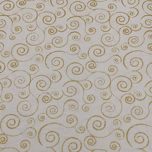"""Golden Princess"" Tightly Woven 100% High Quality Cotton, Pale Yellow w/Sparkling Gold Swirls"