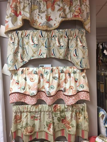 Rod pocket ready made valances in dozens of fun motifs.