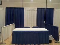 Blue & White Pipe and Drape Booth
