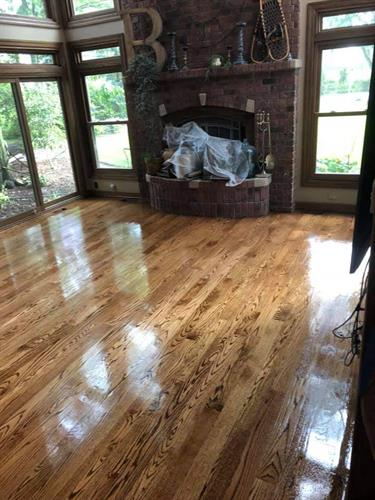Oak Hardwood newly Refinished in Homer Glen after 15 years of family with dogs