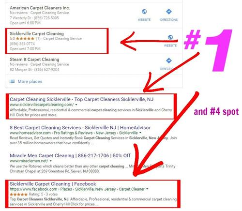 #2 in in the Map Pack and #1 & #4 organically for Carpet Cleaning in Sicklerville NJ.