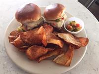 White Street Slider with a jalapeno relish and housemade BBQ Chips