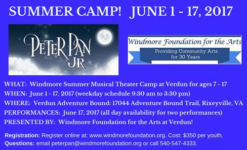 Peter Pan Summer Camp and Musical June 2017.