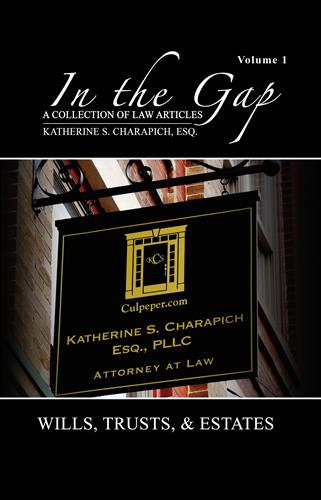 "Estate Law Center Attorney Katherine S. Charapich, Esq. latest book publication ""In The Gap"" - Stories in Estate Planning"