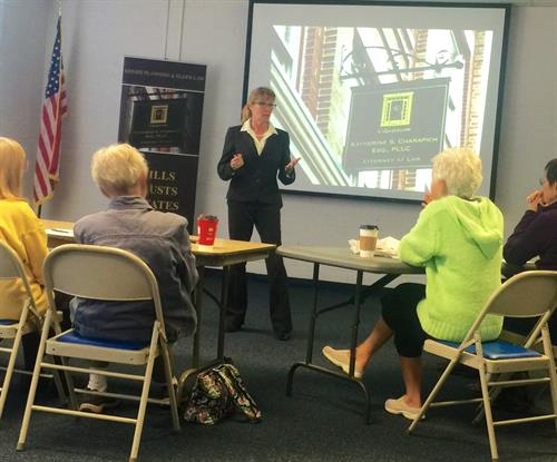 Attorney Katherine S. Charapich volunteering to help educate seniors in Loudoun County regarding Estate Planning