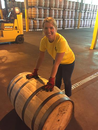 Ginni getting some hands-on experience at Bowman Distillery