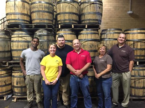 Meeting with clients and workers at Bowman Distillery