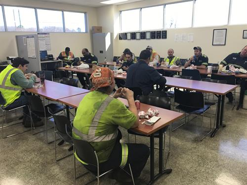 Enjoying a lunch with workers at Gerdau