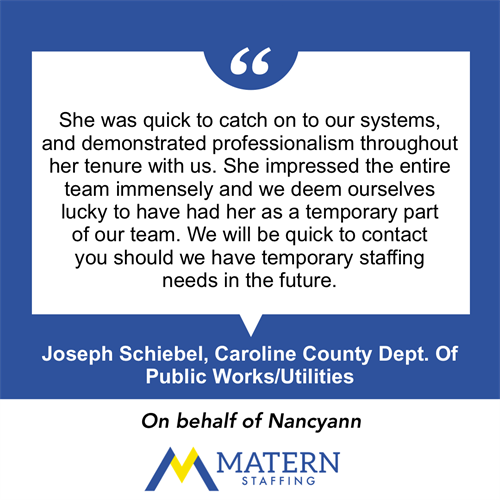 A testimonial from a client about one of our employees