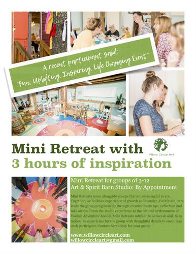 Mini Retreats have been a beloved 3 hour gift to close groups.